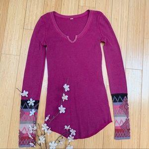 FREE PEOPLE Kombucha Thermal crochet cuffs, S.